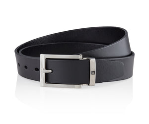 LUXCAER LC Italian vegetable tanned leather belt in black