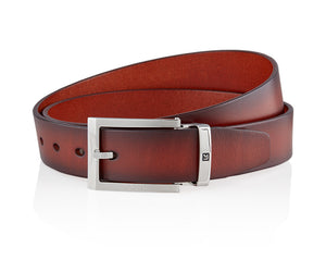 LUXCAER LC Italian vegetable tanned leather belt in brown