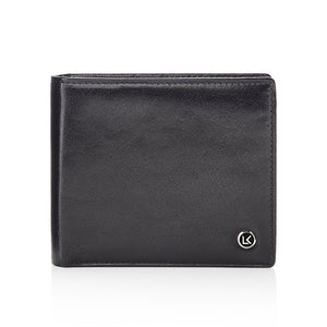 Traditional vegetable tanned leather wallet in black - 8 card slot