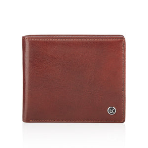 Traditional vegetable tanned leather wallet in brown - 8 card slot