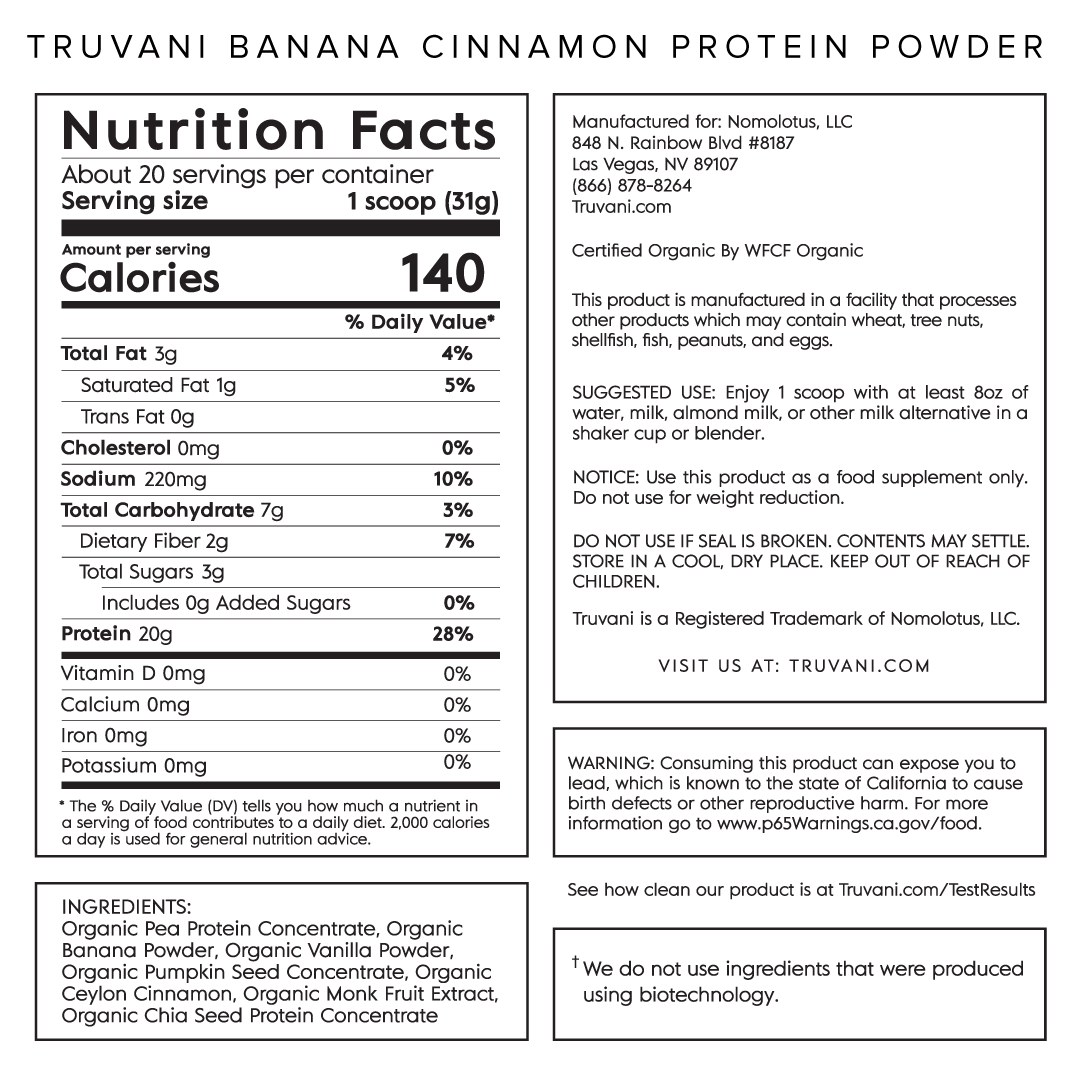 Truvani Banana Cinnamon Plant Based Protein Nutrition Facts