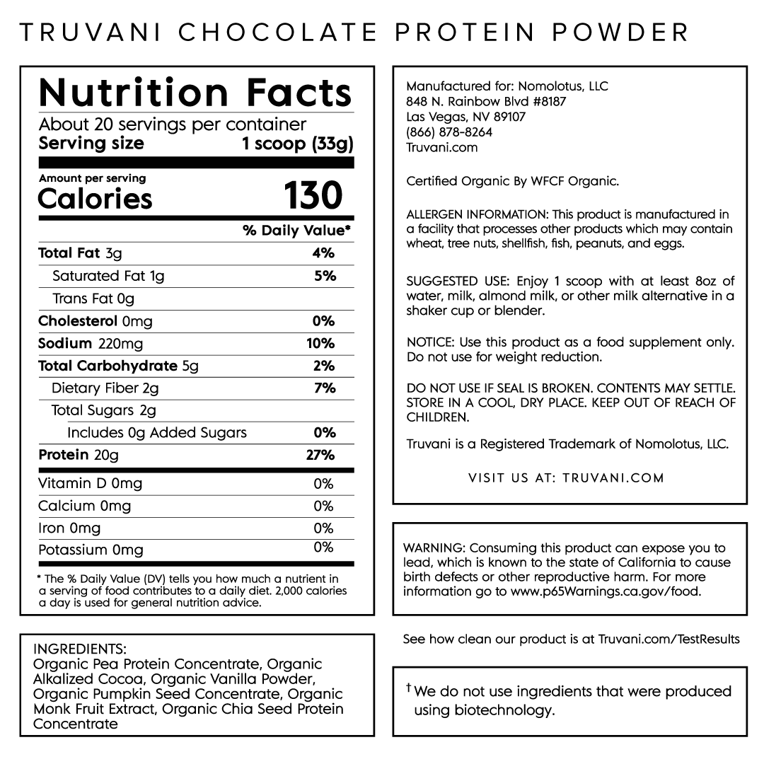 Truvani Chocolate Plant Based Protein Nutrition Facts