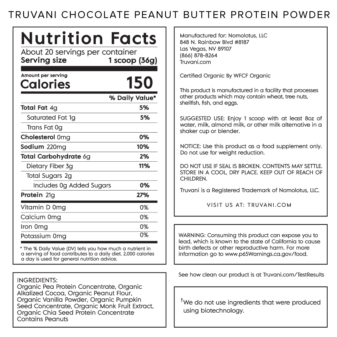 Truvani Chocolate Peanut Butter Plant Based Protein Nutrition Facts