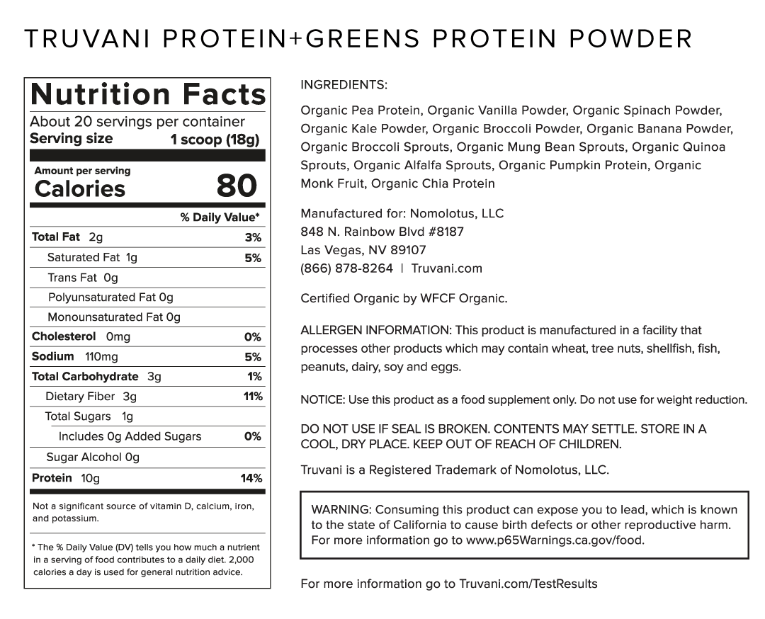 Truvani Protein + Greens Nutrition Facts