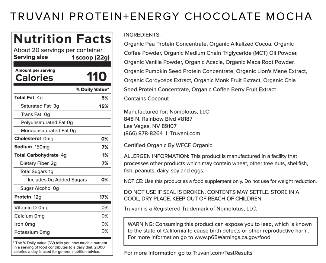 Truvani Chocolate Mocha Protein + Energy Nutrition Facts