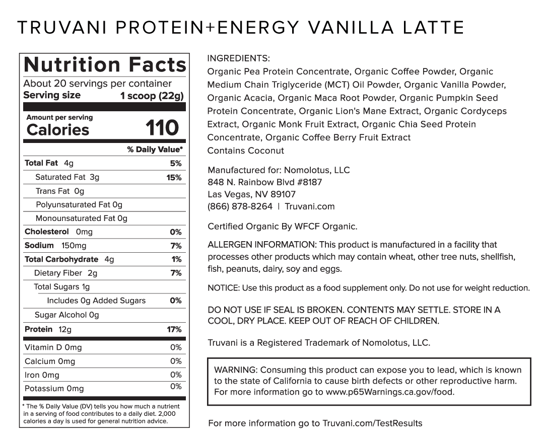 Truvani Vanilla Latte Protein + Energy Nutrition Facts