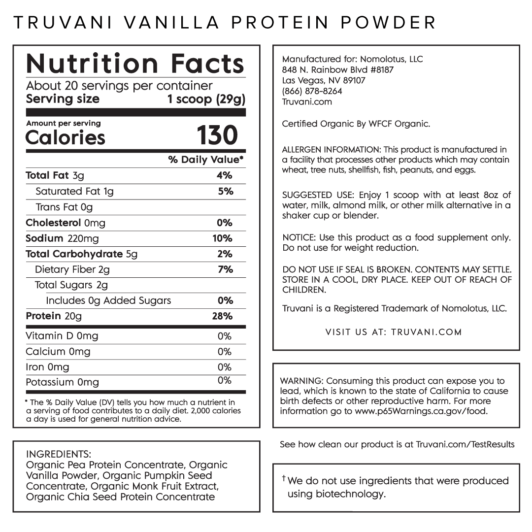 Truvani Vanilla Plant Based Protein Nutrition Facts