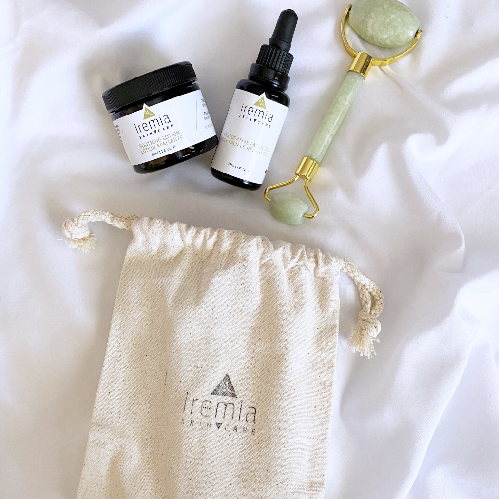 Iremia Skincare Calm Radiance Set. Made to calm, hydrate and tone sensitive skin. Small-batch and made in Canada. Natural skincare for sensitive skin.
