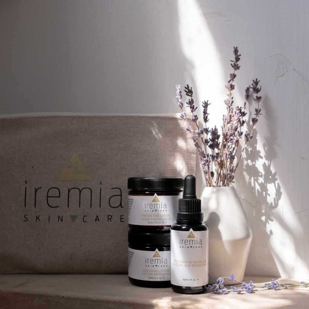 Iremia Skincare Our Saviour Set, for deep restorative moisture for sensitive skin. A nourishing routine made for sensitive skin that includes a Soothing Lotion, Protective Cream and Restorative Facial Oil. Small-batch and made in Canada.