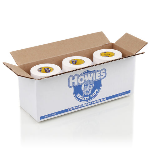 "Howies 1.5"" White Cloth Hockey Tape- Cloth Tape-Bulk 12pk-Howies Hockey Tape"