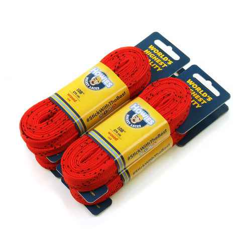 "Howies Red Waxed Hockey Skate Laces- Waxed Laces-4pk-72"" 84"" 96"" 108"" 120"" -Howies Hockey Tape"