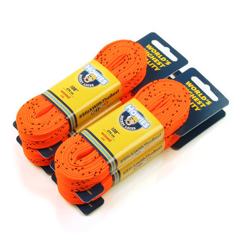 "Howies Orange Waxed Hockey Skate Laces- Waxed Laces-4pk-72"" 84"" 96"" 108"" 120"" -Howies Hockey Tape"