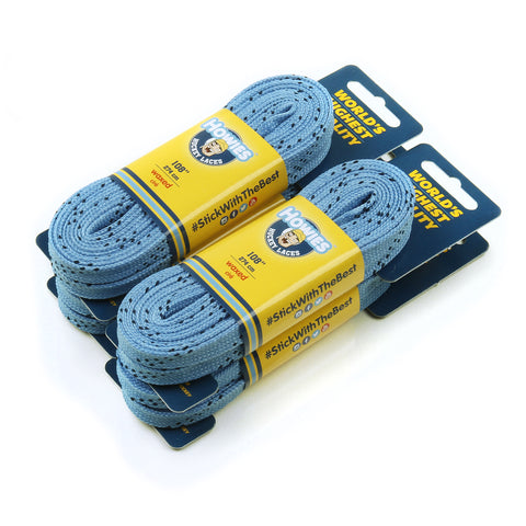 "Howies Sky Blue Waxed Hockey Skate Laces- Waxed Laces-4pk-72"" 84"" 96"" 108"" 120""-Howies Hockey Tape"