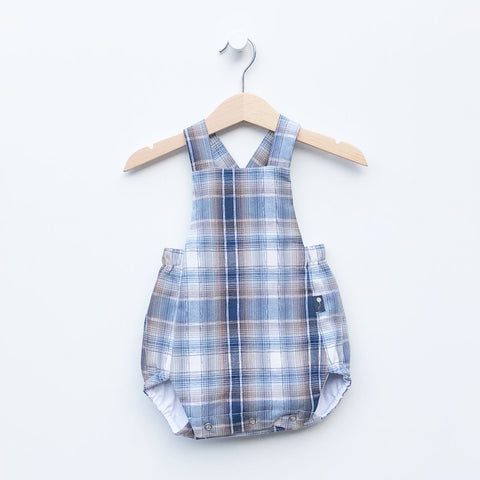 Sustainable Classic Style Children's clothes made in america. Bubble Romper for babies made from button up shirts. Circular fashion is our mission