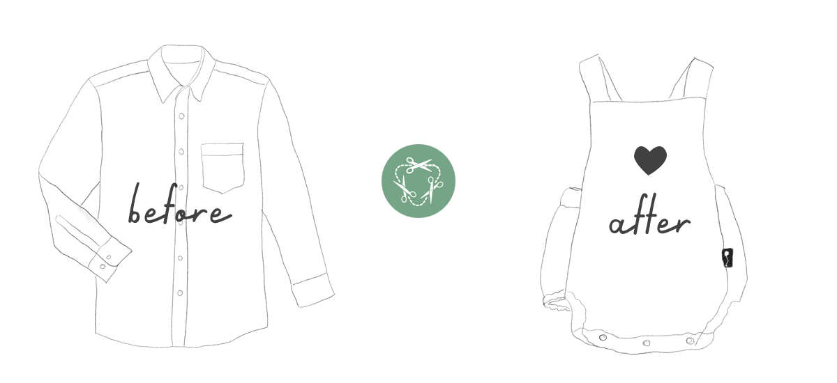 Shirt to romper recycling graphic