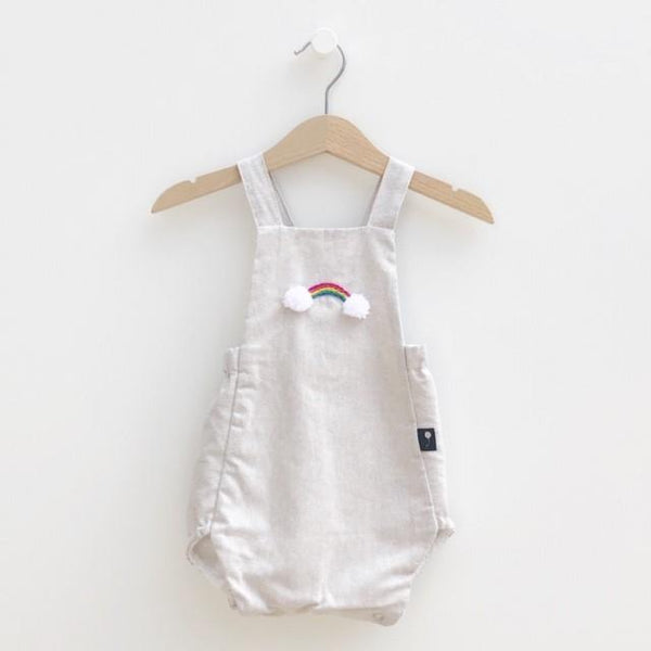 Classic bubble romper, European Style, embroidery rainbow, natural color linen. Lined with white cotton fabric. Rainbow Baby