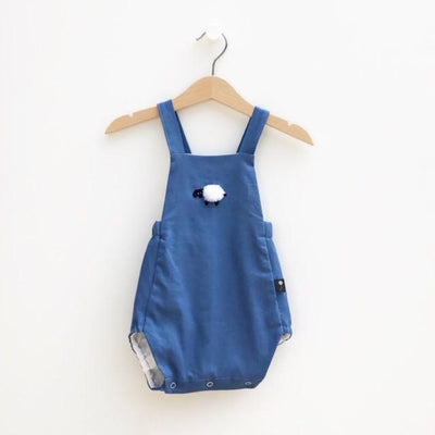 Classic European Style Bubble Romper - Fun Embroidery - Sheep in French Blue Linen