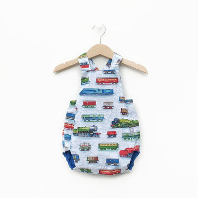 Classic Style Bubble romper, reversible royal blue one side other side trains. Made from an upcycled shirt. Boys