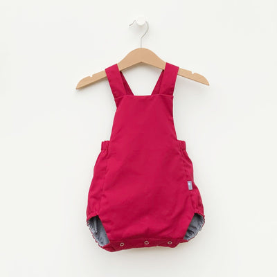 Conserve Collection - Bubble Romper made from red twill and gray fabric from a shirt.