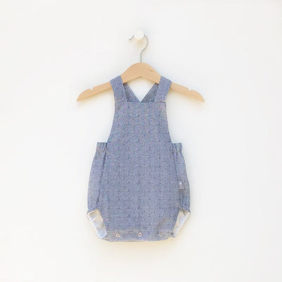 Classic Style Baby Bubble Romper Blue Denim Color, unisex, great to wear during the summer or cooler weather with a shirt underneath and socks, made in Austin Texas USA