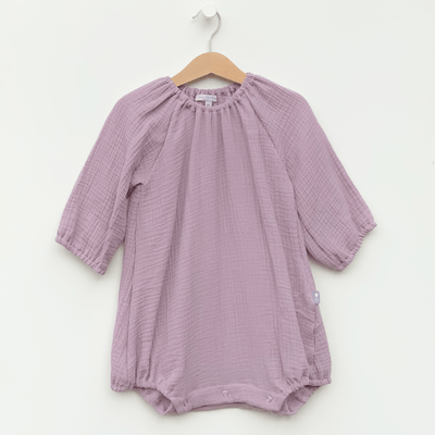 Bpho classic style girl's dress romper, lavender lilac color handmade in usa. cotton gauze for spring collection.