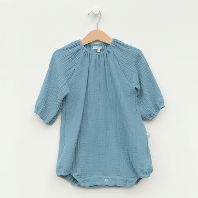 Boho classic romper dress for girls, turquoise blue lightweight gauze fabric