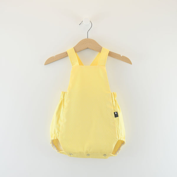 Spring Summer , easter outfit cute European style classic baby bubble romper, yellow & beige Dots on White - Reversible
