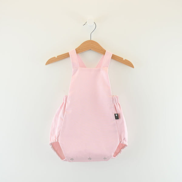 Wholesale cute European style classic baby bubble romper, pink & pink Dots on White - Reversible
