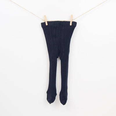 Classic Cable-knit Solid Tights in Navy Blue.