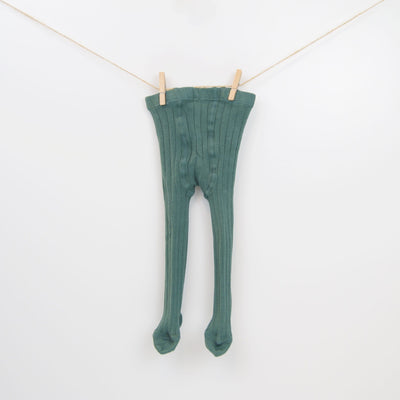 Classic Cable-knit Solid Tights in Jade Green.