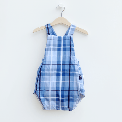sustainable classic style bubble romper plaid blue made from a button up shirt upcycle