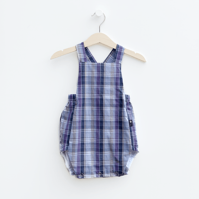 classic style baby bubble romper, plaid purple and navy blue