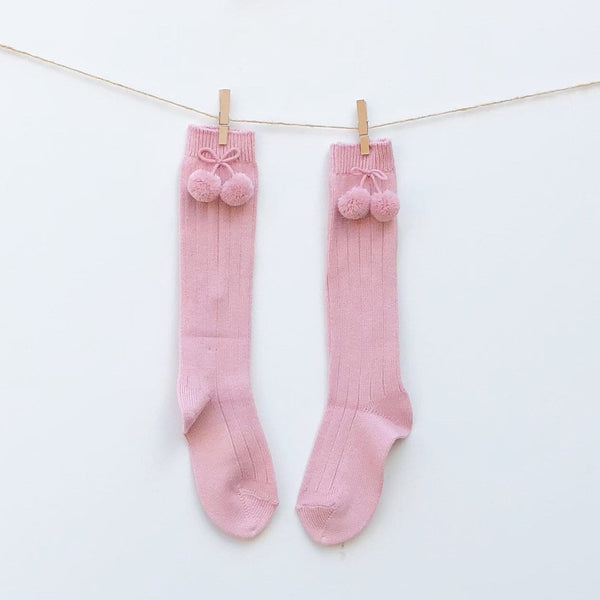 Socks Condor - Pompom Vintage Pink - Knee High
