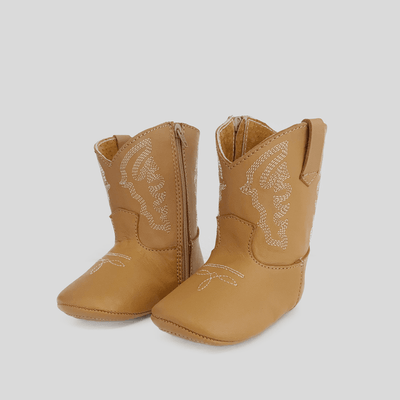 Boots Unisex -  Camel Nomandino Plano. Soft leather camel brown boots. Try them with our classic bubble rompers.