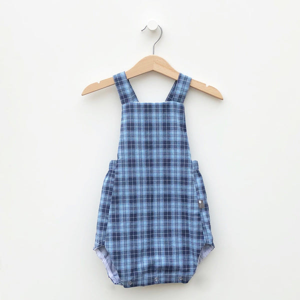 Cute European Style Baby Bubble Romper -upcycled shirt from  Joe's Blue Plaid Shirt (18-24 mo.) sustainable fashion