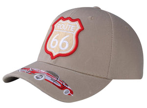 M11ROU02- Route 66 With Velcro Strap Logo Embroidered Design Baseball Cap