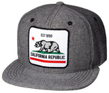 N21CRE44- Structured Cotton California Republic Bear Logo Designed Patch Snapback