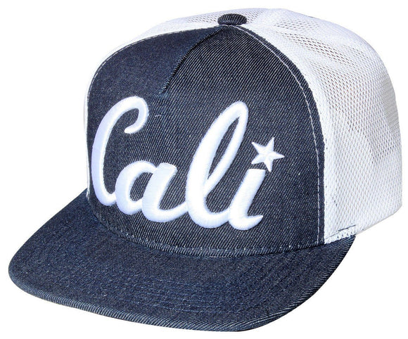 N21CAL73- Structured Front Panel Denim Mesh Style Cali Short Name Logo Designed Snapback