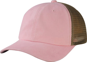 C1463PM-6 Panel Heavy Washed Pigment Unstructured Low Profile lain Cotton Baseball Dad Cap with Mesh Back