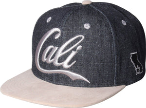 N21CAL74- 2 Tone Structured Denim Cali Short Name Logo Desgined Snapback