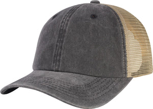 C1463PM-Heavy Washed Pigment Plain with Mesh Back Unstructured Low Profile lain Cotton Baseball Dad Cap