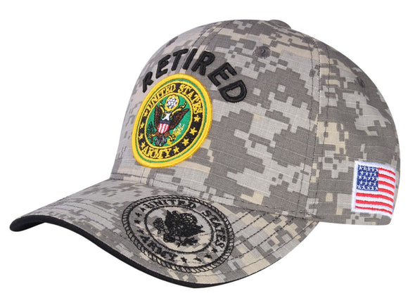 A04ARR02-Retired U.S Army Logo Licensed Embroidered Military Cap