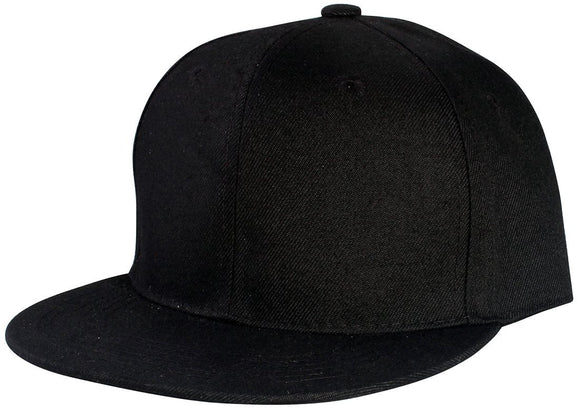 YNW4364-Plain Structured Polyester Fitted Snapback (BLK)