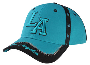 C03ILA13- Los Angeles Seam Tape Printed Polyester Baseball Cap