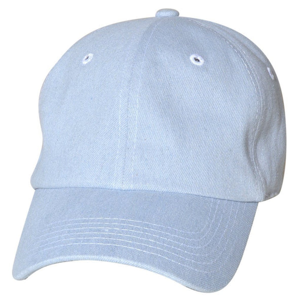 Denim Unstructured Low Profile Plain Cotton Baseball Dad Cap - USWHOLESALECAP - WHOLESALE CAPS AND HATS AT A VERY LOW PRICE!
