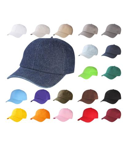 C1463- 6 Panel Washed Low Profile Cotton Plain Baseball Dad Cap