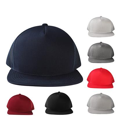 CNF1452M - 5 Panel Snapback with Mesh Back Structured Cotton Flat Bill Plain Cap