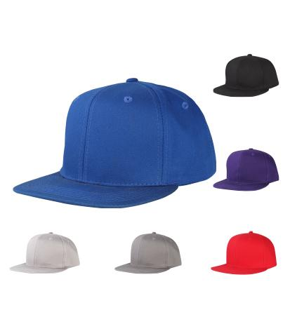 CNF1462 -6 Panel Structured Cotton Flat Bill Snapback Plain Cap