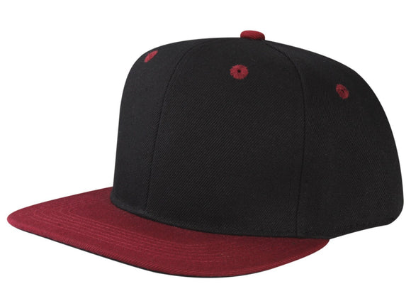 CNF4362-2T - 2 Tone Structured Polyester Flat Bill Snapback Plain Cap (BLK/BUR)
