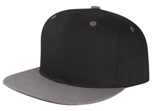 CNF4362-2T - 2 Tone Structured Polyester Flat Bill Snapback Plain Cap (BLK/DGY)